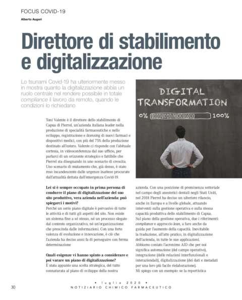 COVID Direttore di Stabilimento e Digitalizzazione